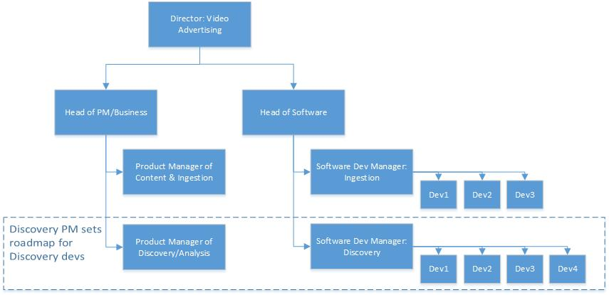 for example within my team i define the roadmap for a software team that reports to a different senior manager